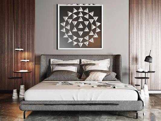 北欧卧室双人床组合3D模型