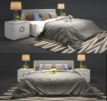 現代布藝雙人床床頭柜臺燈組合3D模型