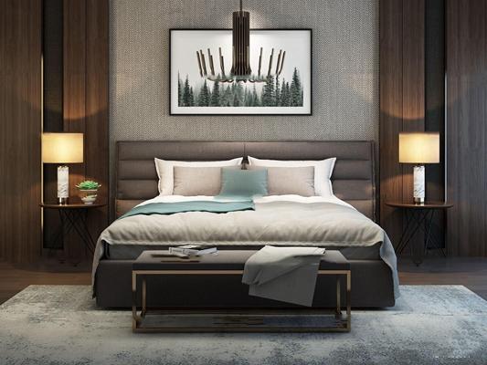 現代雙人床床頭柜組合3d模型