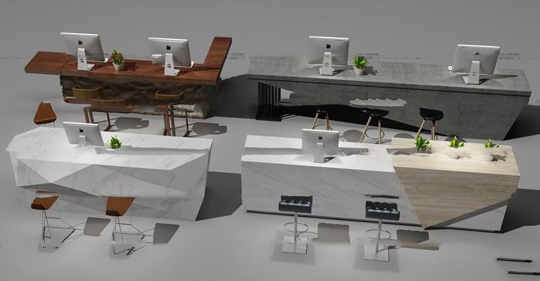 現代前臺接待臺組合3d模型