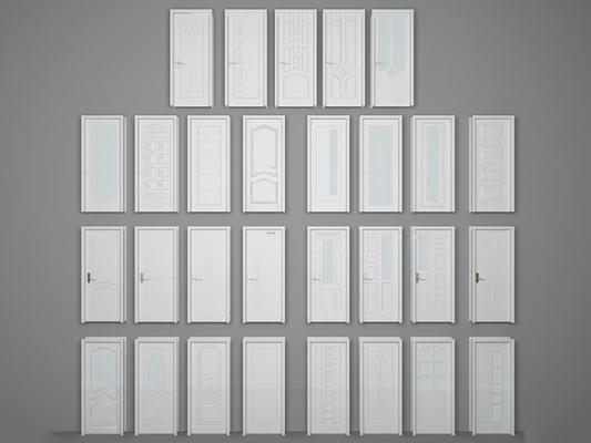 简欧白色单开门组合3D模型