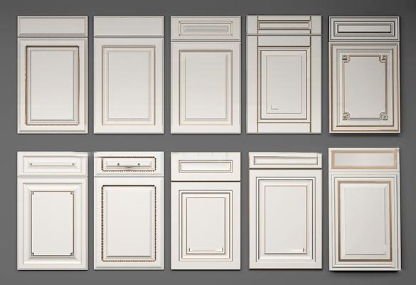 简欧实木橱柜门板组合3d模型