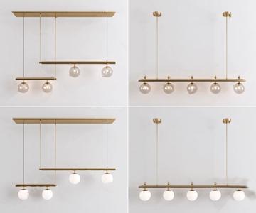现代简约餐厅吊灯组合 现代吊灯 玻璃吊灯 长吊灯 金属吊灯