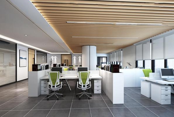 现代公共办公区3d模型