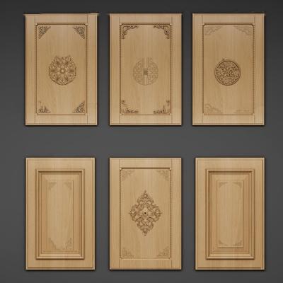 中式实木厨柜门板组合3D模型