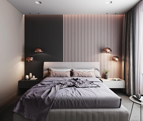 现代布艺双人床吊灯组合3D模型