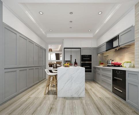 现代厨房橱柜吧台组合3D模型