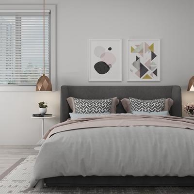 北欧布艺双人床装饰画组合3D模型【ID:77235605】
