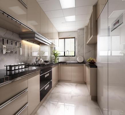 现代厨房橱柜3D模型【ID:77238031】