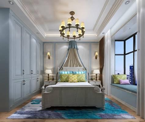 欧式卧室3D模型 双人床 吊灯 床头柜 衣柜