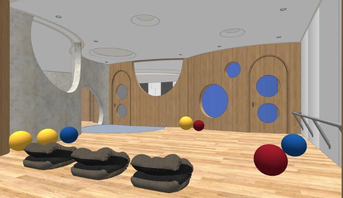 舞蹈室瑜伽房SU模型