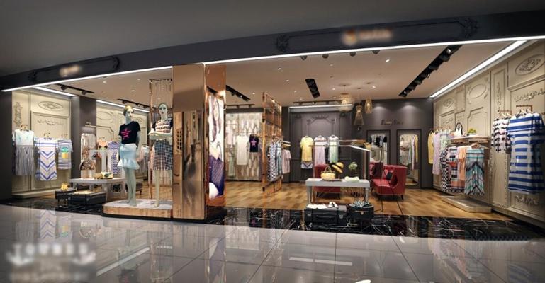 女士服装专卖店 现代服装店 衣架 衣服 模特 沙发 展示台 隔断 吊灯