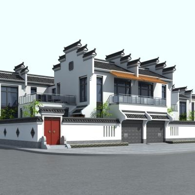 中式徽派别墅外观3D模型