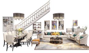 简欧沙发茶几餐桌椅吧台楼梯电视柜组合3D模型