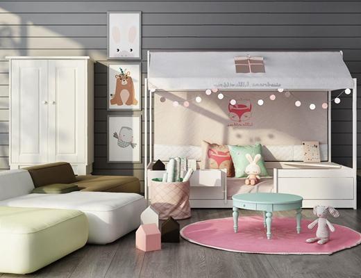 北欧儿童娱乐室家具组合 北欧单人床 圆桌子 躺椅 衣柜 挂画 玩具 圆地毯