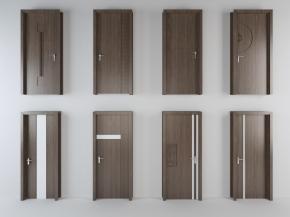 现代实木单开门组合3D模型