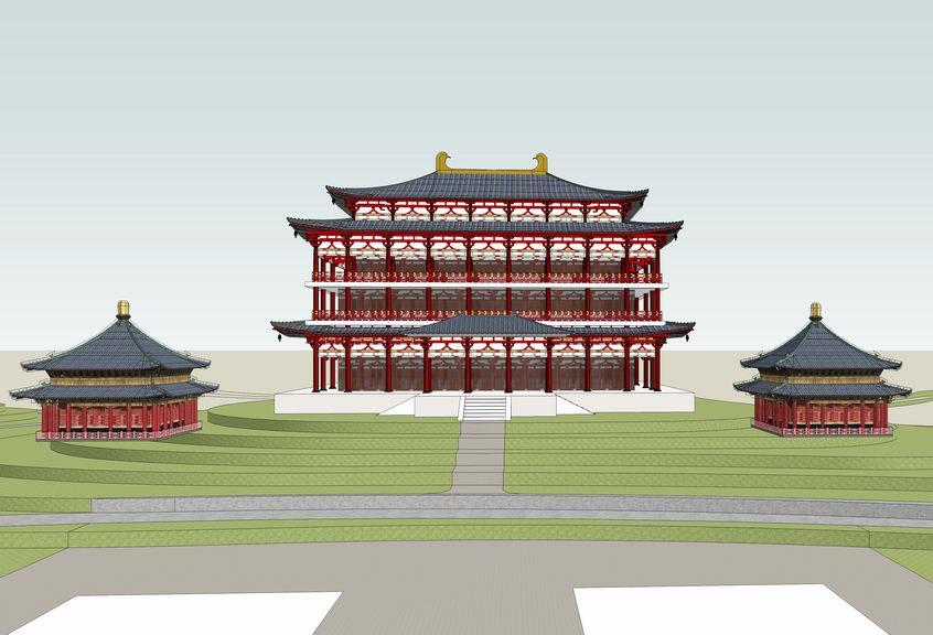 唐代古建筑SU模型