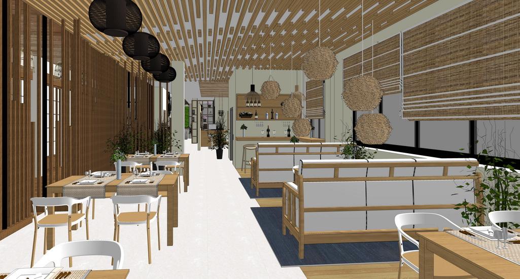 民宿餐厅室内设计SU模型