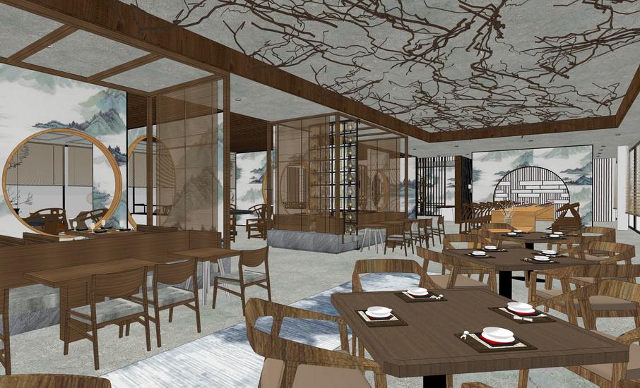 山水禅意餐厅室内设计SU模型
