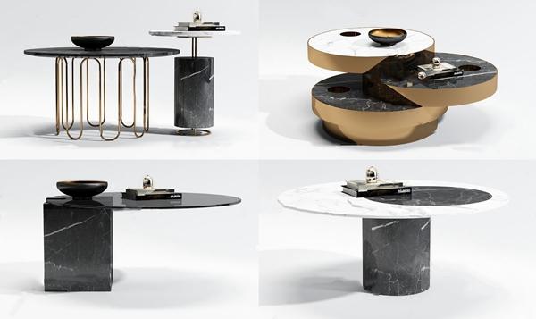 现代大理石茶几组合3d模型