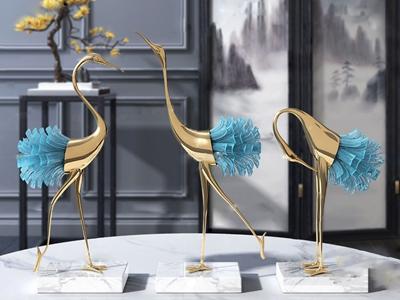 新中式金属装饰鹤摆件3d模型