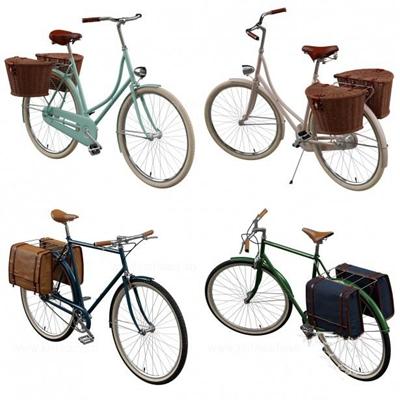 老式自行车 自行车 编制篮子