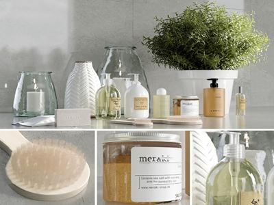 现代沐浴洗漱化妆用品组合