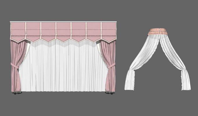 童房窗簾組合SU模型