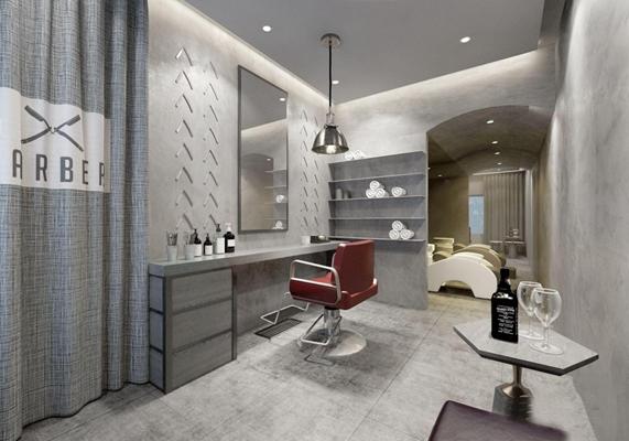 现代理发店 现代娱乐会所 美发店 镜子 洗头沙发