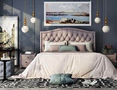 美式卧室组合 美式双人床 床头柜 角几 凳子 吊灯