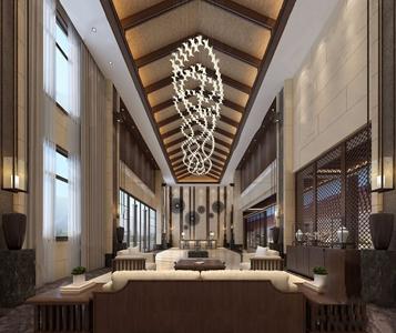 新中式大堂 新中式前台大堂 多人沙发 茶几 角几 边柜 前台 吊灯 花瓶