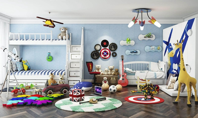 儿童房玩具总动员组合 玩具 上下床 动物模型 地毯 吊灯 婴儿床 墙饰 摆件 玩具