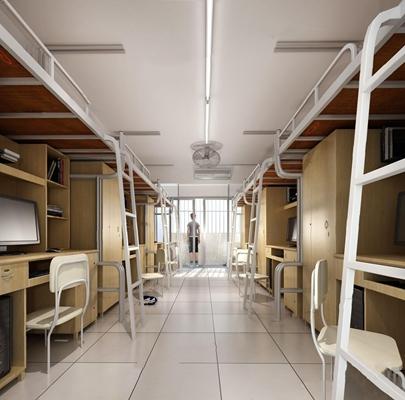 现代宿舍 现代学校 宿舍 上下床 上下铺 椅子