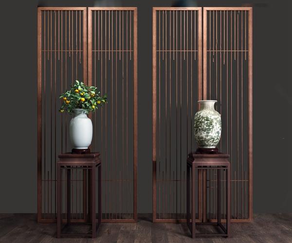 中式花架花瓶摆件3d模型