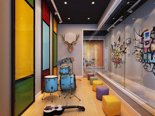 现代音乐教室 现代学校 前台接待 音乐室 架子鼓 墙饰