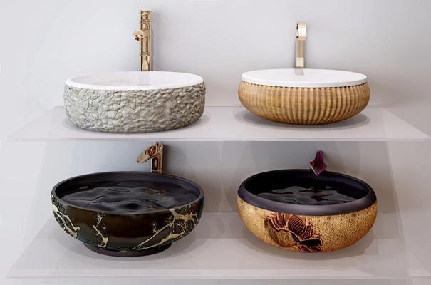 新中式台盆组合 新中式卫浴用品 洗手盆