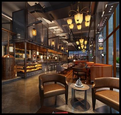 工业风复古酒吧 工业风酒吧 桌椅 吊灯 卡座 吧椅