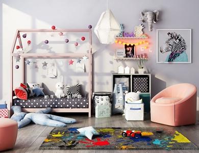 北欧儿童床组合 北欧单人床 休闲椅 收纳盒 边柜 凳子 挂画 吊灯