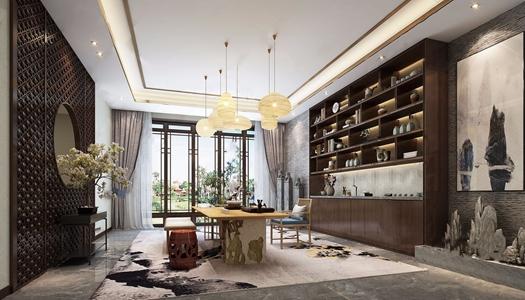 新中式茶室 新中式茶室 茶台 壁柜 吊灯 椅子 坐凳 凳子 玄关台 盆栽 隔断