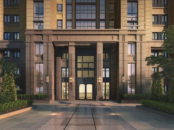 现代小区住宅楼门头3d模型