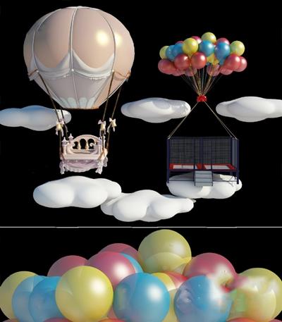 现代热气球3D模型