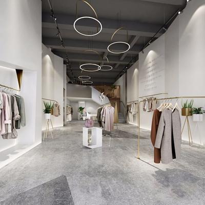 现代服装店铺 现代商业零售 店铺 衣服 吊灯 展台