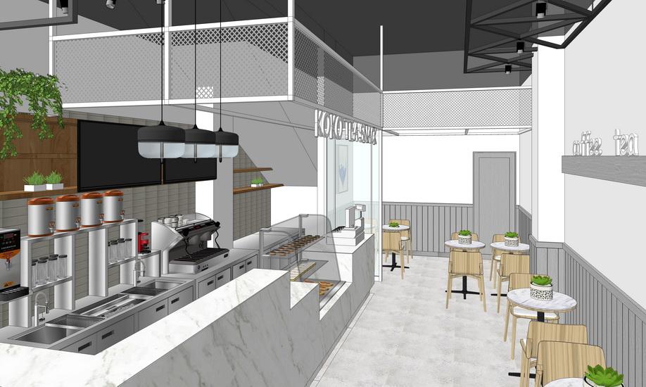 奶茶店室内设计SU模型