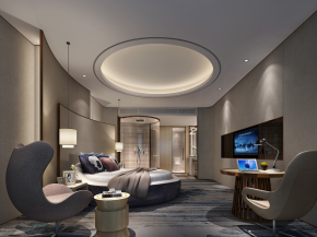 现代酒店客房圆床房3D模型