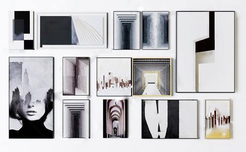 后现代抽象装饰画组合 后现代挂画相框 装饰画