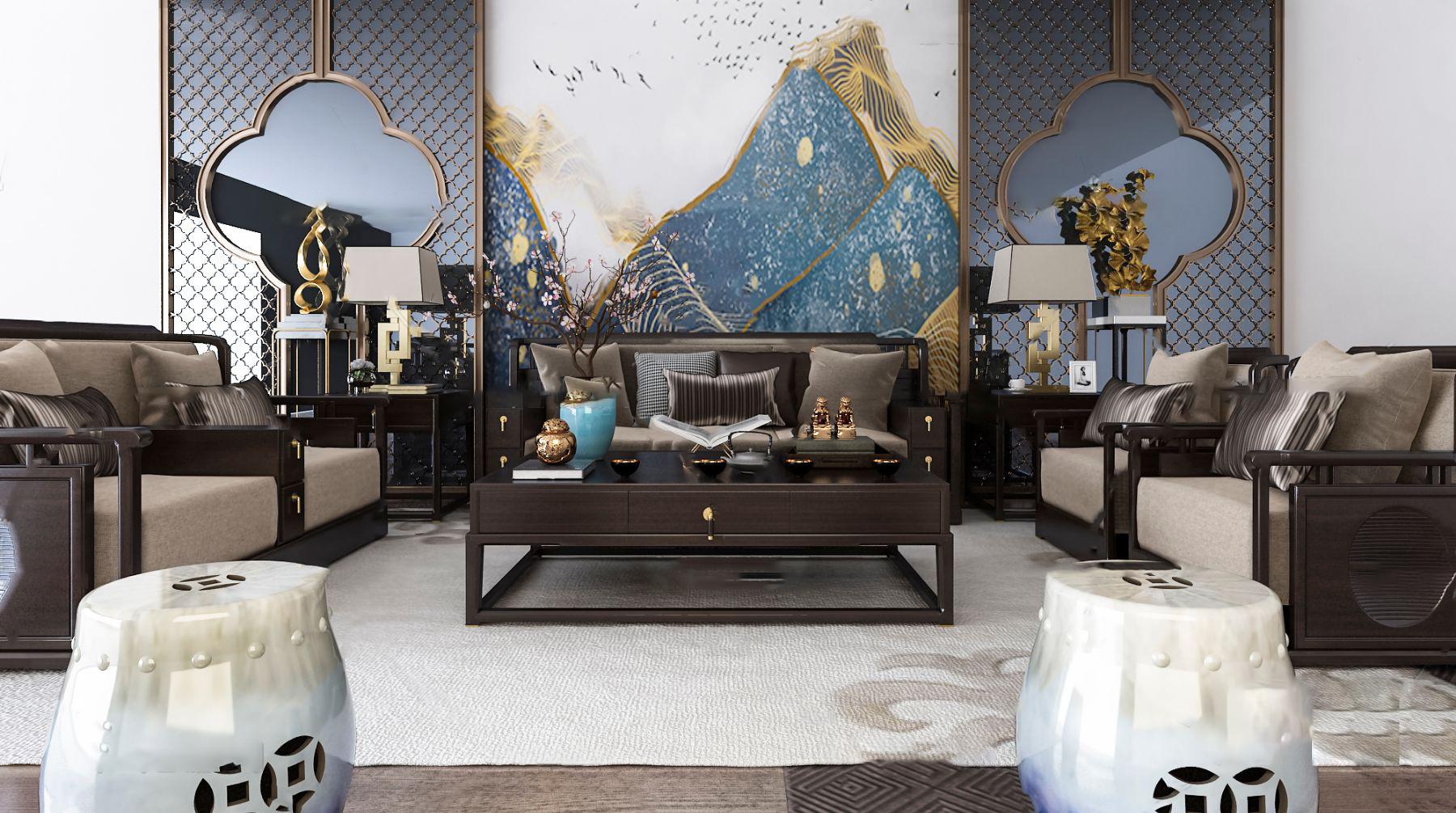 新中式组合沙发3d模型