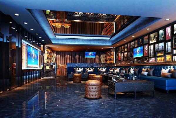 欧式ktv 简欧娱乐会所 多人沙发 酒柜 点歌台 挂画 吧凳 酒吧