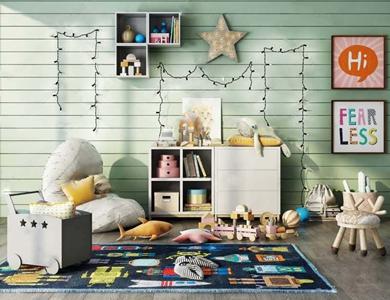 北欧儿童娱乐室玩具组合 北欧玩具 边柜 吊柜 推车 懒人沙发 卡通凳子 卡通墙饰