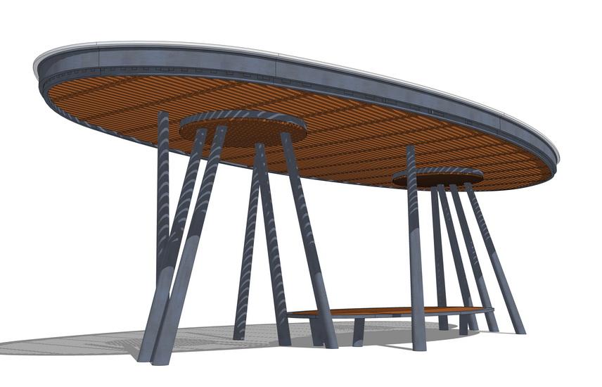 圆形廊架SU模型