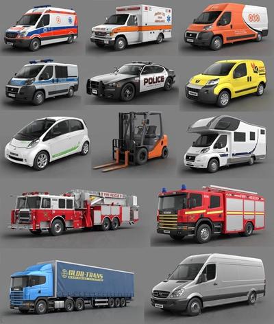 玩具车辆集合 玩具车辆车 铲车 消防车 医护车 辆模型组合
